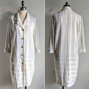 vintage 80's textured stripe flax jacket dress